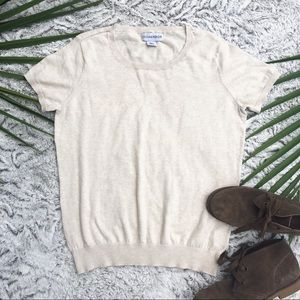 Cute Beige Short-Sleeved Sweater